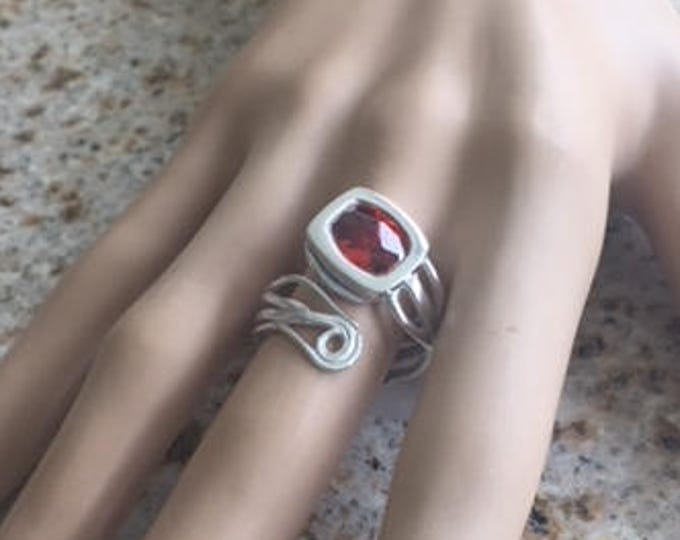 Item 186 999 Fine and 925 Sterling Silver Handcrafted Sculpted Unusual Gift for Her Unique Adjustable Ring Size 6-9 with Fire Opal CZ