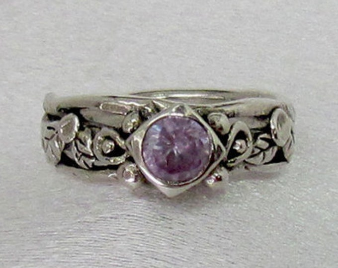 Item 158- Handcrafted, sculpted, carved  999 Fine and 925 Sterling Silver Ring with Round Lavender Cubic Zircona Leaves Ring - Size 6