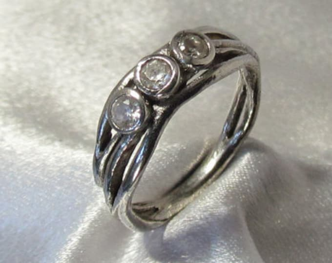 "Item 151- Handcrafted, sculpted, carved 999 Fine and 925 Sterling Silver Ring with 3 Round White ""Diamond""  CZs with Leaves Ring Size 7.5"