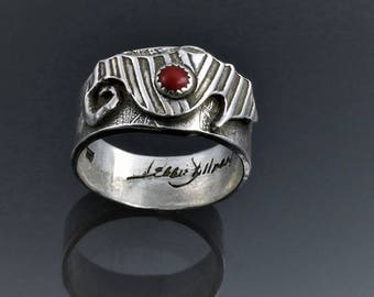 Item 192 - Fine and Sterling Silver Handcrafted Textured Unique Abstract Seahorse Ring Band with Genuine Red Coral Size 9