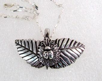 "Item 6071- ""Lucky Landing"" Handcrafted, sculpted, carved PMC Fine & Sterling Silver Ladybug Nature Garden Leaf Pendant"
