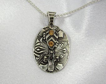 "Item 6117 - ""Blessed Collection"" - Fine & Sterling Silver Hand sculpted carved Oval and Cross Pendant set with Quality CZ"