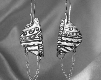 Item 4700-7 Handcrafted 999 Fine Silver Dangling Chain Earrings Collection Lightweight Hand Sculpted One-of-a-kind