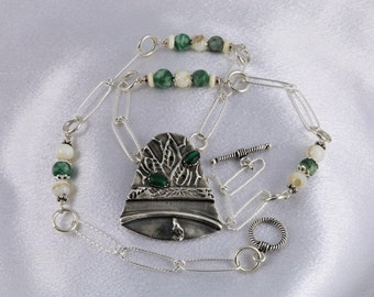 "Item 6048 - ""Jingle Bell""  Handcrafted, sculpted and carved  999 Fine Silver Elegant Bell Genuine Malachite White Onyx Chang Hai Jade"