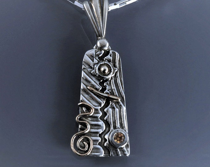 Item 6127 - 999 Fine Silver and 925 Sterling Silver with 18K Rose Gold Champagne CZ Handcrafted Handsculpted Unique Abstract Pendant