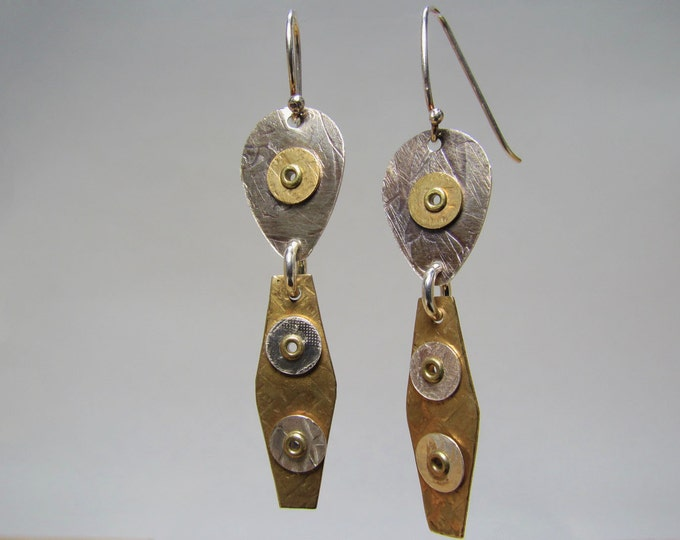 Item 4200-4 Handcrafted Sterling, Copper & Brass Textured Lightweight Dangle Earrings