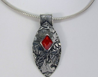 """Item 6091 - """"Butterfly at Sunset"""" Handcrafted & sculpted 999 Fine and Sterling Silver set with Triangle """"Fire Opal"""" CZ"""