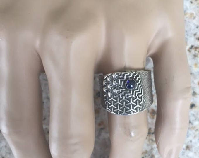 Item 21101 - Fine and Sterling Silver Handcrafted Textured Unique Abstract Men's Ring Band with Lab Sapphire Size 12