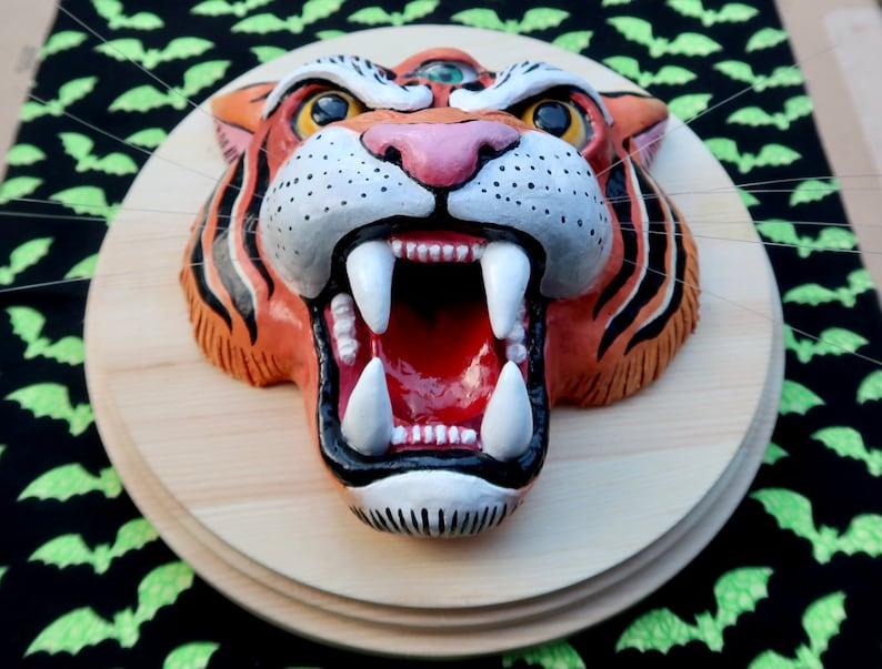 Three Eyed Tiger Head On Wooden Plaque