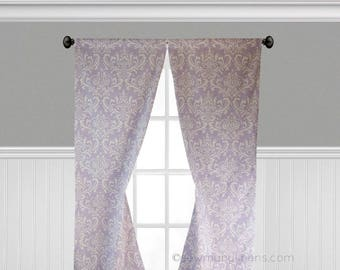Lavender Curtain Panels Wisteria Purple Curtains Nursery Bedroom Home Decor Floral Window Treatments Valance Shade