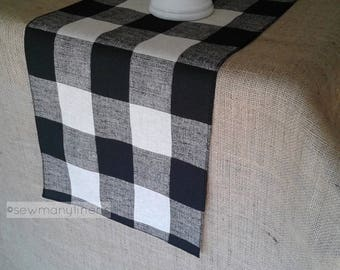 Black Plaid Buffalo Check Table Runner Country Cottage Decor Table  Centerpiece Kitchen Dining Room Table Linens Plaid Farmhouse Decor