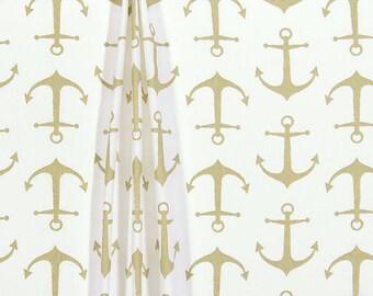 Nautical Curtain Panels Gold Sailor Anchor Coastal Curtains Window Treatments Shade Topper Bedroom Bathroom Home Decor
