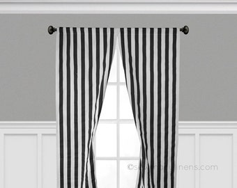 Black And White Stripe Curtain Panels Window Treatments Curtains Custom Drapery Modern Decor Drapes