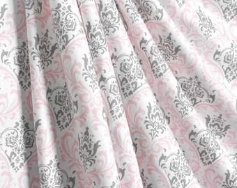 Pink Gray Curtain Panels Nursery Curtains Window Treatments Baby Girl Light Shade Drapes Home Decor Valance Custom
