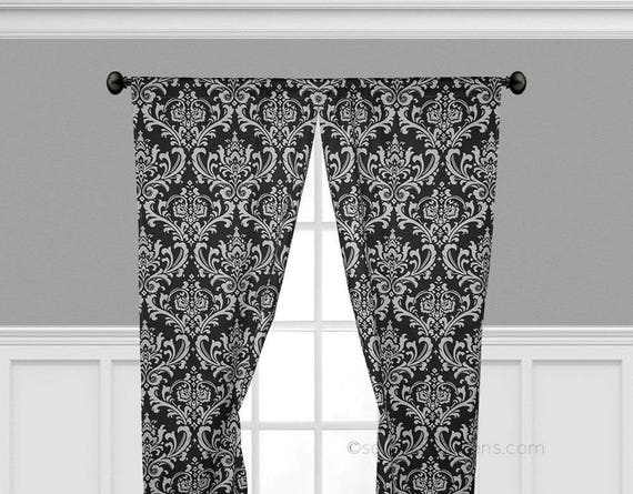 Black and White Curtain Panels Window Treatments Black Curtains Custom  Drapes Living Room Dining Room Bedroom Drapery Shade