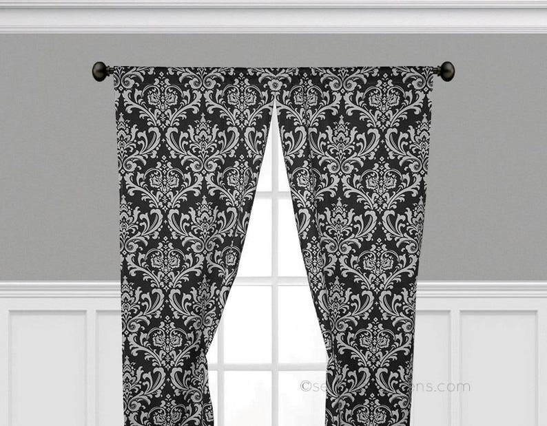Black and White Curtain Panels Window Treatments Black Curtains Custom  Drapes Living Room Dining Room Bedroom Drapery Shade