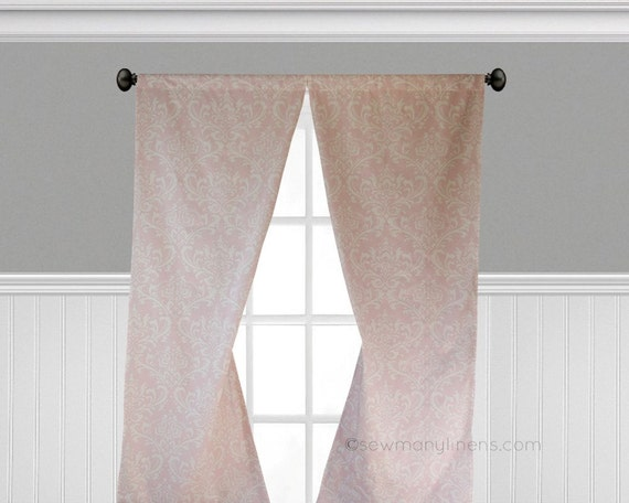 Pink Curtains Floral Window Treatments Custom Drapes Nursery Decor Girls  Bedroom Curtain Panels Drapery Light Pink Floral Curtains