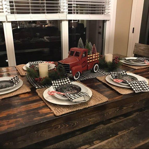Black Plaid Napkins Gingham Check Napkin Set Farmhouse Kitchen Etsy