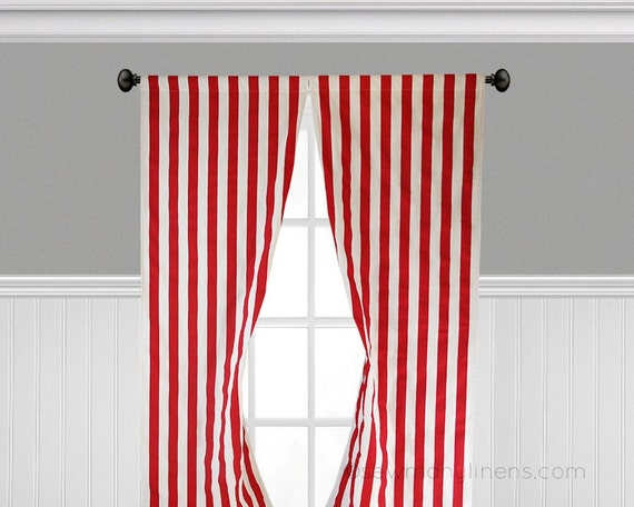 Red And White Striped Curtains Window Treatments Red Canopy Etsy