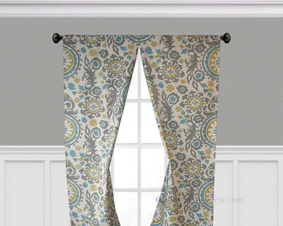 Gray Blue Yellow Curtains Window Treatments Floral Curtain Panels Living  Room Kitchen Drapes Patterned Drapery Decor