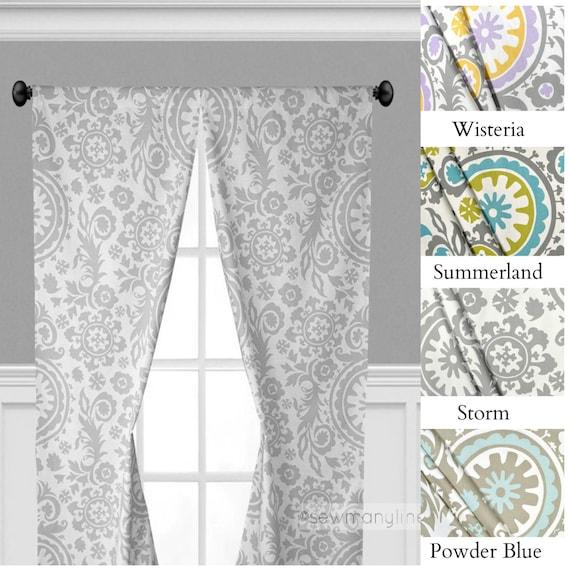 Gray Yellow Light Blue Curtains Nursery Bedroom Curtain Panels Window Treatments Floral Drapery Custom Drapes Home Decor Valance Topper