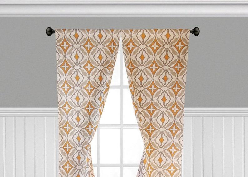 Orange Gris Taupe rideaux fenêtre dimpression géométrique | Etsy