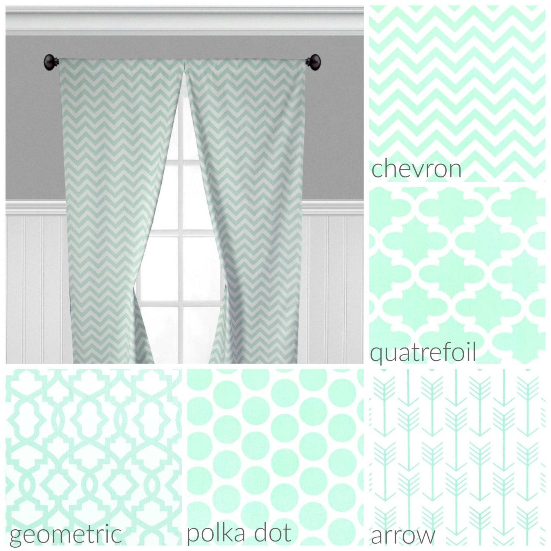 Mint Green Curtain Panels Light Green Curtains Window Etsy