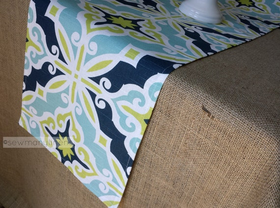 Exceptionnel Navy Aqua Turquoise Blue Lime Green Table Runner Table | Etsy