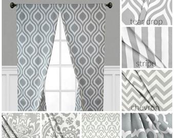 Gray Curtains Window Treatments Grey Drapes Geometric Chevron Stripe Quatrefoil Curtain Panels Valance Home Decor