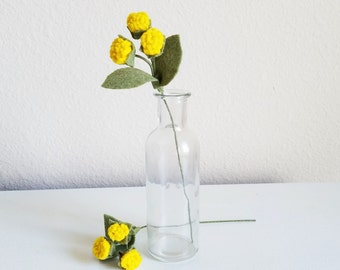 Single Yellow Felt Chrysanthemum Buds - Home Decor, Nursery, Wedding