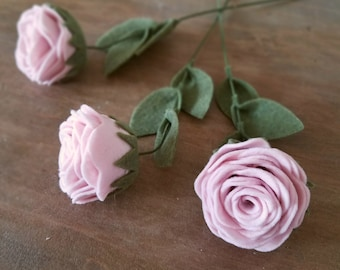 Single Felt Rose Stem - Felt Flowers - Build Your Own Bouquet with Custom Colors