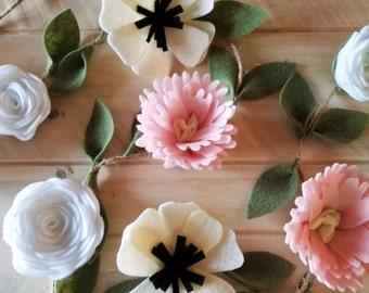 Felt Peony Anemone Rose Garland, Felt Flower Garland, Nursery Garland, Rustic Wedding Garland