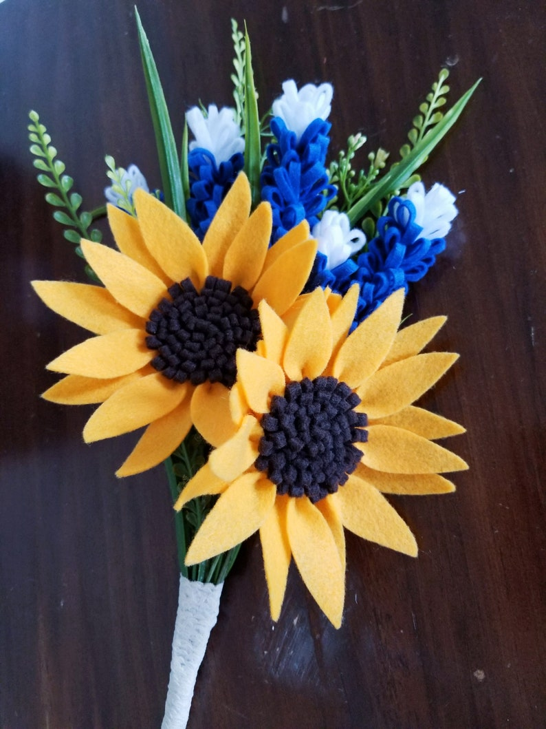 66d56c95f7c Felt Bluebonnets Sunflowers Bouquet Wedding Flowers Bridal