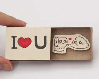 "Humor Love card/ ""I love you"" Matchbox card/ Gift for Couples/ Cute Love Gift Card/ ""I love you"" Poo Toilet Paper/LV006"