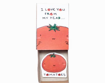 Unique Love Card/ Love Gift for Her/ Couple Gifts/ Gift box/ Tiny Matchbox Card/ I Love You From My Head Tomatoes Card/ LV092
