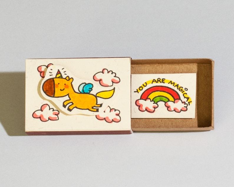 Cute Unicorn Card  Friendship Card  Love Card You are magical Matchbox  Gift box  Message box OT024