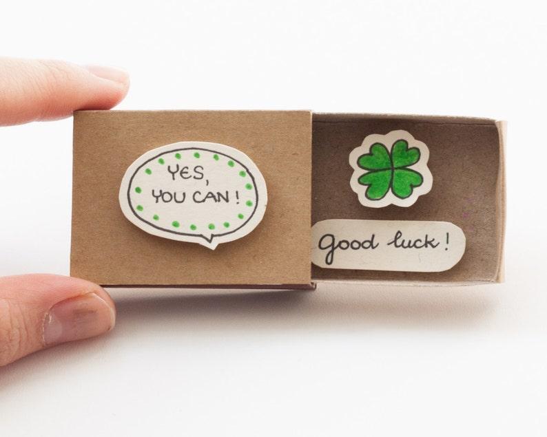 Good Luck Card Cute encouraging Matchbox Gift box Encouragement Card  Friendship Card Yes you can card OT059