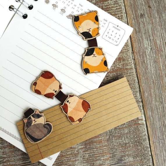 de956407b6 Cute Cat Wooden Magnetic Bookmark Set of 3  Book Clip  Cat