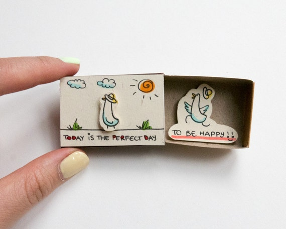 Cute Fun Encouragement Card Que Sera Matchbox Gift box  Message box OT054