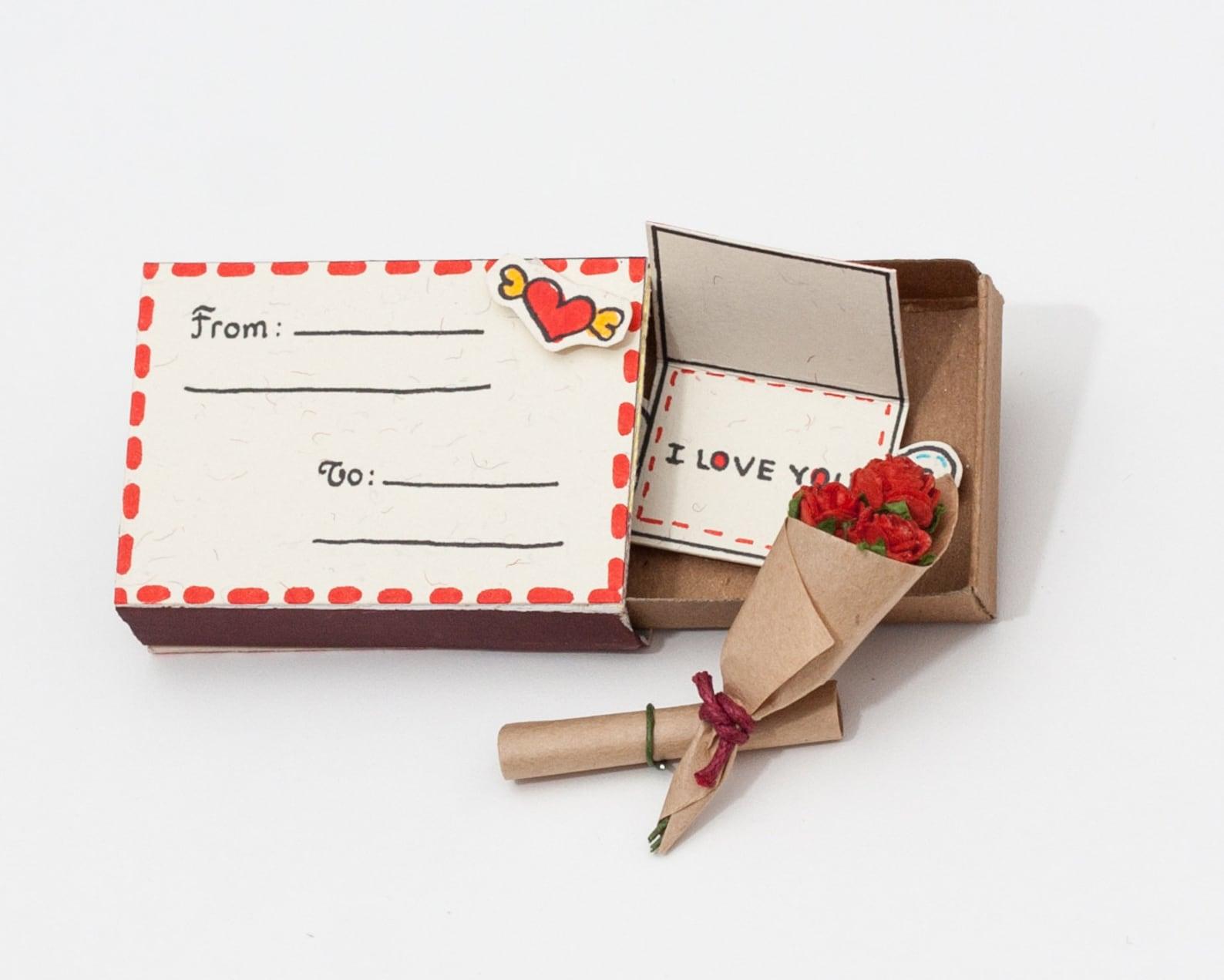Открытка из спичечного коробка своими руками, днем рождения юбилей