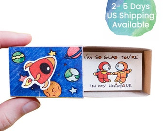 """Romantic Love Card/ Astronauts Love Card /Unique Matchbox Card for him/ Love Gift/ """"I'm so glad you're in my universe""""/ LV096"""
