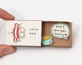 "Funny Love card/ Anniversary Card/ Unique Love gift/ Love Matchbox Card/ ""I'm a Bee And I love you Honey""/LV013"