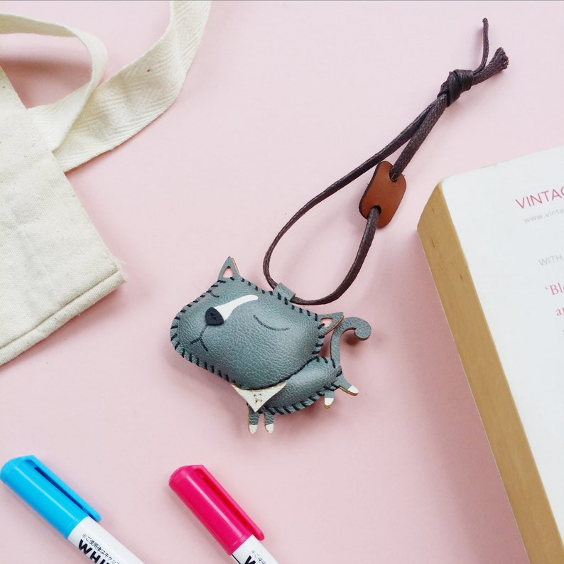 Cute Keychain Cat Leather Toy PT036 British Shorthair Charm Personalized Charm Unique Bag Charm Handmade Luggage Tag