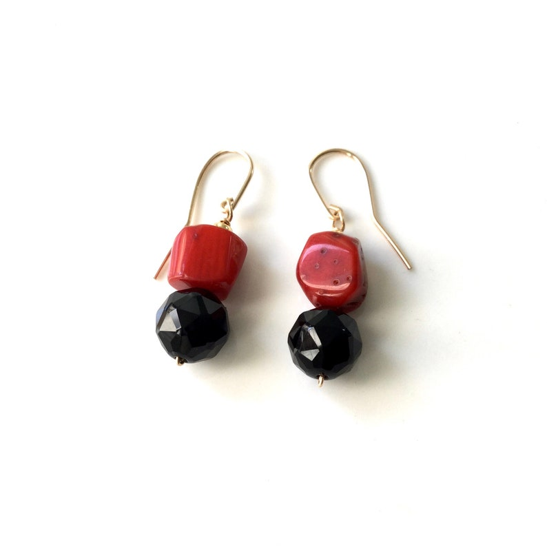 Chunky Red Coral Shiny Facet Onyx Gold Dangle Earrings,Vivid Red Coral Black Onyx Star Facet,Boho Chic Gift,Natural Stone Earrings