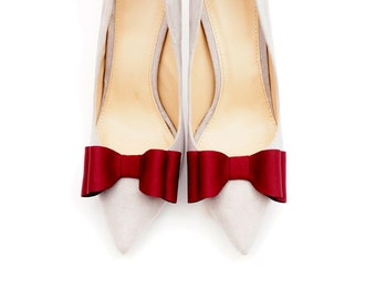 Claret bows - shoe clips Manuu, Bridal shoe clips, Wedding shoe clips, Dark red bows