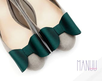 Dark green bows - shoe clips Manuu, shoe accessories, shoe bows, bow shoe clips