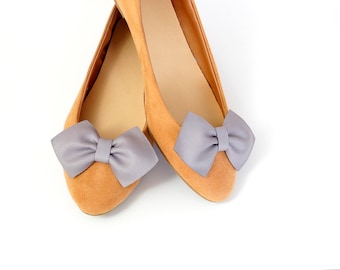 Grey bows - shoe clips Manuu, shoe accessories, classic bows,
