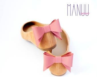 Dirty pink bows shoe clips - bow shoe clips Manuu, Wedding accessory, Bridal shoes