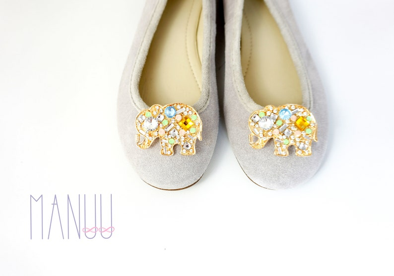 1acc469786f11 Gold embellishments with rhinestones and colorful zircons- shoe clips  Manuu, shoe jewelry, shoe clips elephants