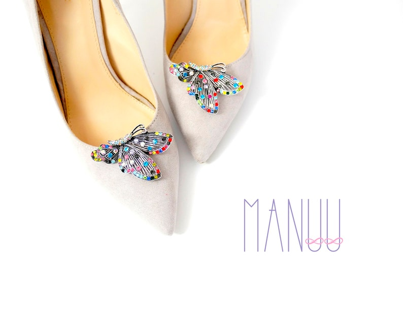 72c5ab9950385 Silver butterflies with colorful zircons - Shoe clips Manuu, Shoe jewelry  butterfly